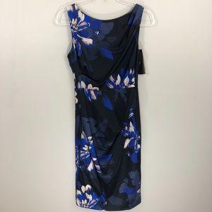 Donna Karan New York Black Blue Floral Dress 8 NWT
